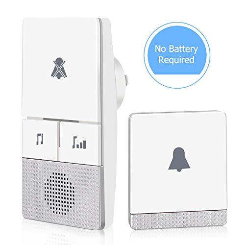 AUOPLUS Wireless Bell Electricité Autogénérée pour porte, cloche sans piles IP64 étanche avec flash LED, 3 niveaux de volume réglables, 38 mélodies, portée à 300m, 1 émetteur et 1 récepteur.