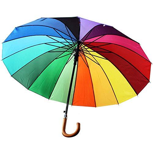 Xl Schirm BUNT Regenbogenschirm Regenbogenschirm Regenschirm Partnerschirm Regenbogen Ø 104cm Damen Partnerschirm Automatik...