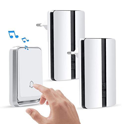 iKALULA Buzzer sans fil, Buzzers de porte Buzzer sans fil Buzzer imperméable à l'eau avec gamme d'indicateurs LED 500 pieds 4 niveaux de volume 51 Mélodies Buzzer portable Home (2 récepteur et 1 émetteur)