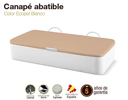 Naturconfort Canapé pliable Canapé rembourré Couverture latérale d'ouverture 3D Ecopel Blanc Ecopel 90x180cm Livraison et assemblage gratuits
