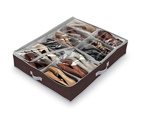 Domopak - Range-chaussures sous le lit (grande taille, 12 compartiments), marron