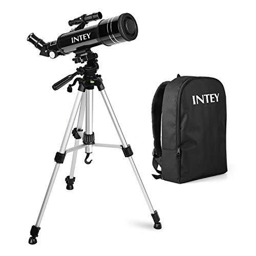 Télescope astronomique INTEY - Télescope astronomique 70 X 400 MMC pour enfants, objectif haute définition, portable (avec sac à dos), télescope tripode (k6 mm, k25 mm)