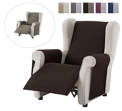 Housse de fauteuil Adele Relax, Taille 1 Plaza -Protecto Canapé rembourré réversible. Couleur Marron