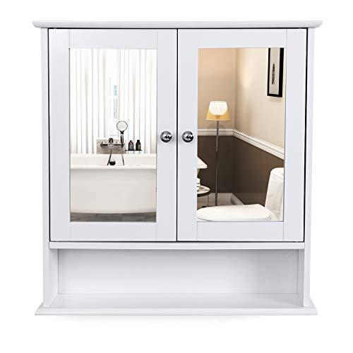 VASAGLE Armoire de toilette, Organiseur avec 2 portes, avec miroir, 56 x 13 x 58 cm, blanc LHC002
