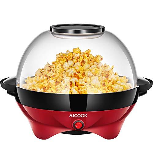 Aicook Popcorn Machine, Popcorn électrique avec plaque chauffante antiadhésive, amovible, 5 couvercles, rangement pratique