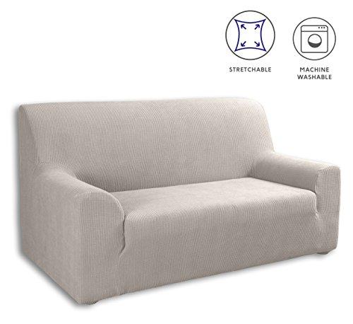 Tural - Housse de canapé élastique modèle'la Valeta', couleur beige. 2 places (130-160cm). Disponible en différentes couleurs et tailles.