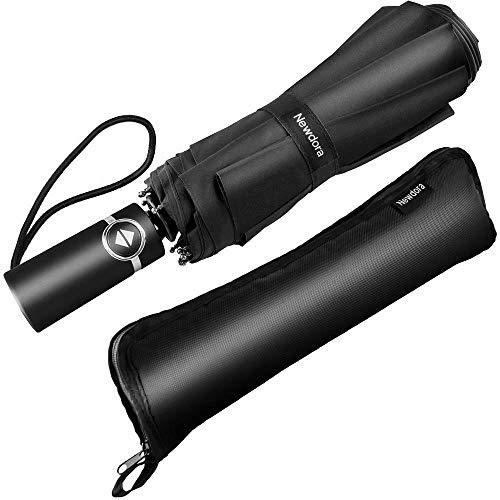 Newdora Parapluie Pliant Automatique Noir Imperméable à l'Eau 10 Cadres Métalliques Compact Windproof Travel Resistance pour Hommes et Femmes