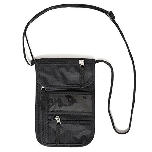 Porte-documents à col Nomalite | Sac de voyage noir robuste avec 5 poches (1 pour mobile) et housse en nylon. Idéal pour hommes, femmes et enfants. Porte passeport. (Mince)