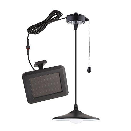 Panneau MVpower Lampe Solaire Lampe Solaire 4 LEDs Plafonnier Lampe Suspension Lampe Suspension Lumière Blanche pour Salle de Travail Garage Chambre à coucher Bureau Couleur Noir Noir