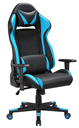 IntimaTe WM Heart Gaming Chair, Racing Ergonomic Office Chair, Adjustable Tilt and Height, Adjustable Tilt and Height, Adjustable Armrests, Lumbar Cushion and Synthetic Leather Pillow (Blue)