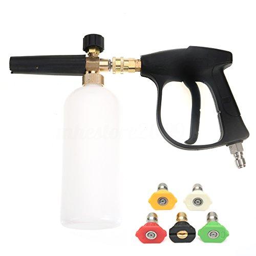 NUZAMAS Nettoyeur haute pression avec 5 buses d'eau et 1L de mousse de neige lance bouteille kit pour plate-forme de plancher de voiture Nettoyage de vitres Quick Connector