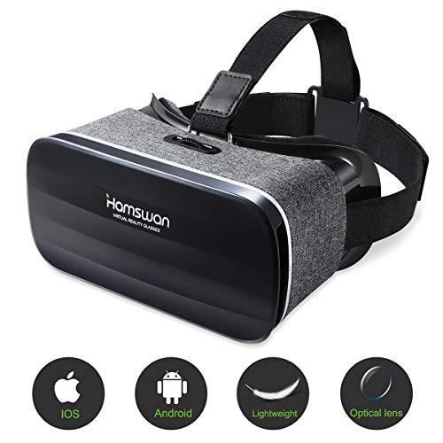 Lunettes de réalité virtuelle, (cadeaux) HAMSWAN 3D VR Light Weight 238g, lunettes VR Vision panoramique 360 degrés 3D Movie Immersive Game pour mobile 4.0-6.0 pouces