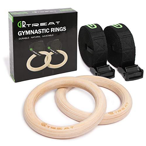Bagues de traitement GUARD & REVIVAL Gymnastique Bois - Bagues d'entraînement - Bagues d'entraînement - Jeu de boucles professionnelles pour Home Sport Crossfit - 32mm/ 28mm Jour (Jour 28mm)