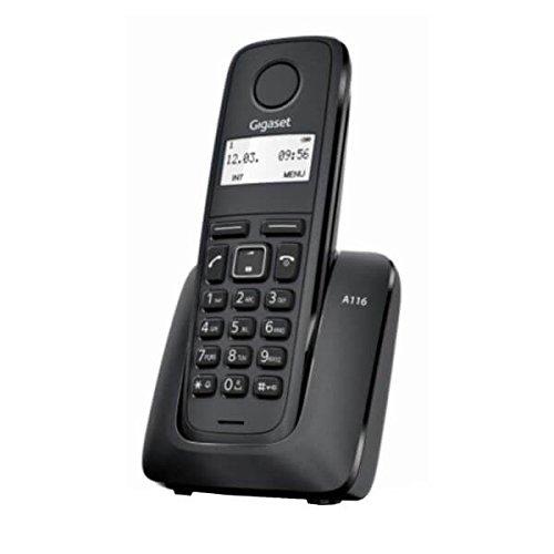Téléphone sans fil Gigaset, Carnet d'adresses jusqu'à 50 contacts (nom et numéro), Identification de l'appelant entrant, Affichage graphique 1.4', Liste de 25 appels manqués, Grande autonomie. A116.