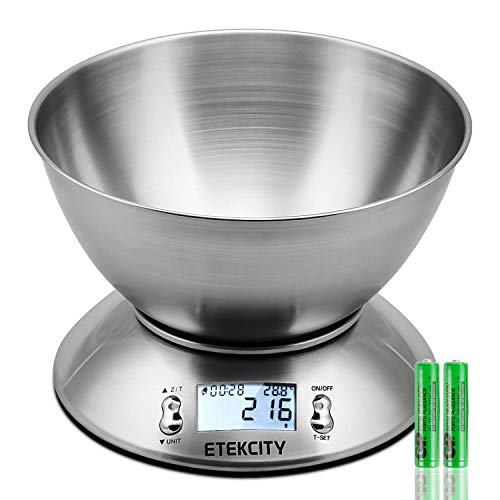 ETEKCITY HDC2-ORC-Etek - Balance de cuisine numérique 5 kg, argent, 4150