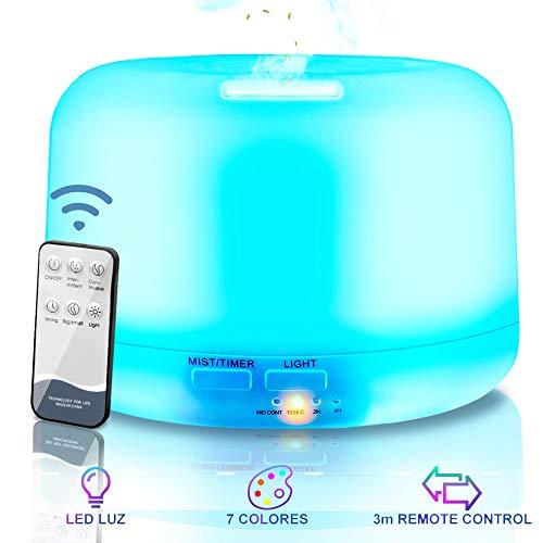 NAIXUES Humidificateur à Ultrasons, Diffuseur Humidificateurs 300ml Aroma, Diffuseur Huiles Essentielles avec Télécommande, 7 LED couleur, 2 Minuterie, Cave à cigares, Yoga, SPA