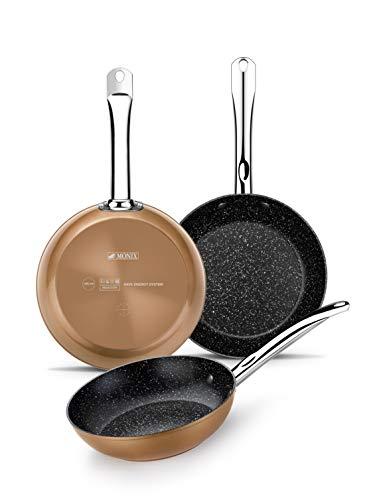 Monix Cuivre- poêles à frire à effet cuivre 20-24-28 cm en aluminium forgé avec des particules de titane antiadhésif, convient pour tous les types de cuisines, y compris induction, couleur cuivre