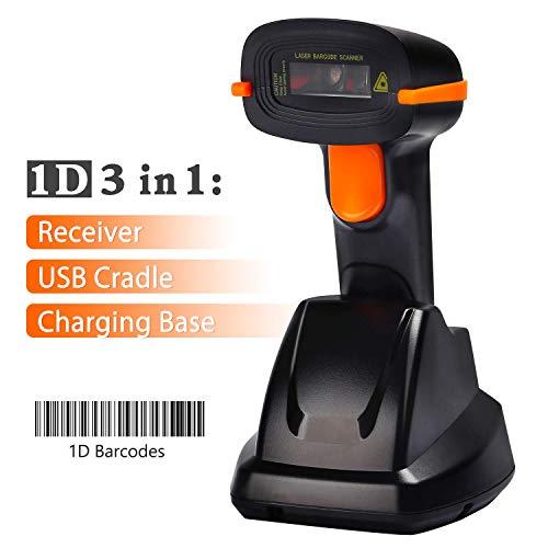 Lecteur de codes à barres sans fil Tera Lecteur de codes à barres portatif avec batterie rechargeable avec récepteur USB et base rechargeable
