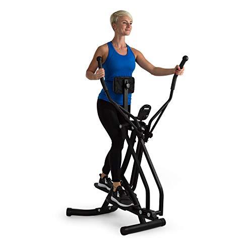 Klarfit Bogera X Machine de course à pied elliptique avec ordinateur - Vélo elliptique - Ecran LCD - Rembourrage abdominal réglable - Pliage - Résistances jusqu'à 100 kg - Noir