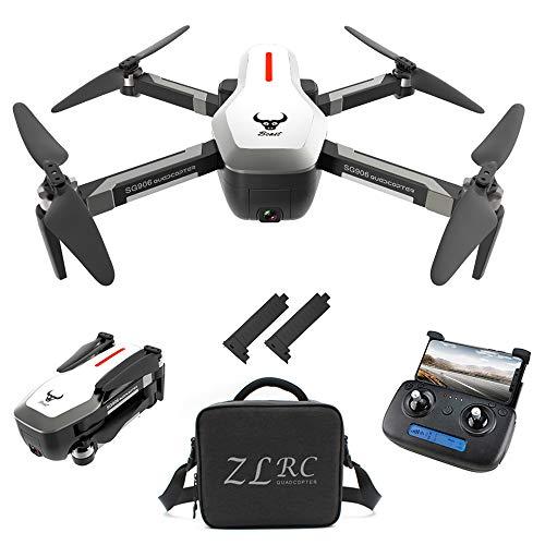 Goolsky SG906 GPS Drone 4K sans balais avec caméra Sac à main 5G WiFi FPV Foldable Optical Flow Positioning Altitude RC Bra Bra Altitude RC Quadcopter Drone (Blanc, sac à main et 2 batteries)