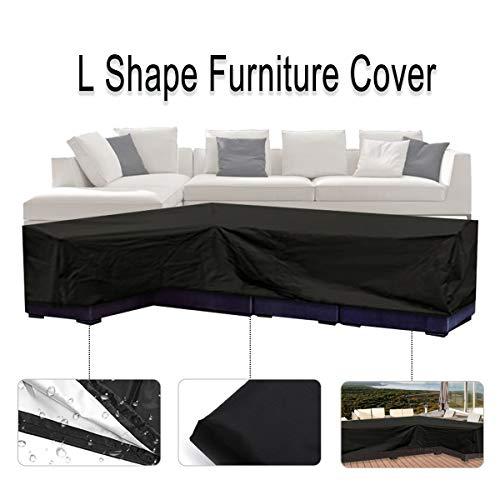 Housse de canapé de patio Essort en forme de L, imperméable à l'eau et à la poussière pour les déplacements ou parasol 200 cm (L) × 270 cm (R) × 90 cm (H), couleur noir