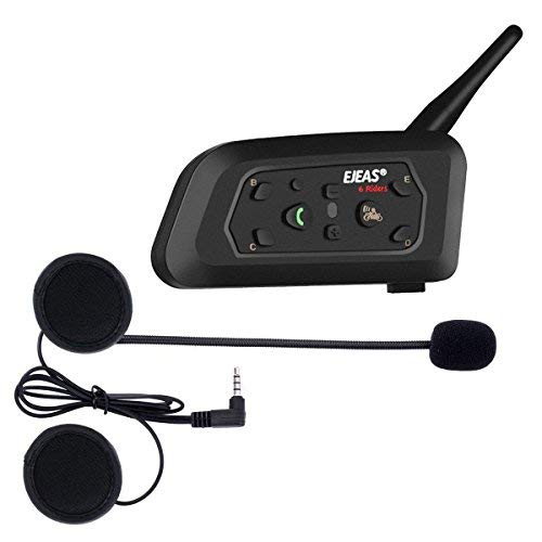 Ejeas V6 Pro Casque d'écoute Bluetooth Intercom Moto pour motos, Portée Communication Intercom 1200m, Casque moto Intercom, Etanche, Intercom Entre 6 Motocyclistes