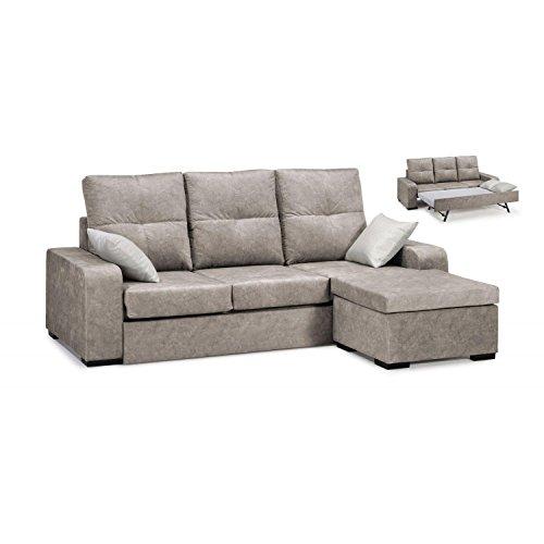 Canapé-lit avec chaiseLongue, couleur beige, Somier et matelas inclus, cheslong ref-88