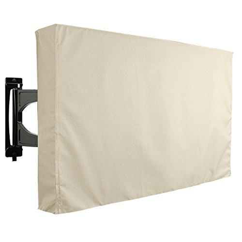 Protecteur universel de TV d'extérieur pour écran LCD 46' - 48', LED, ou PLASMA TV, résistant à l'eau, protecteur d'écran, compatible avec les supports de table et muraux - 46 Beige