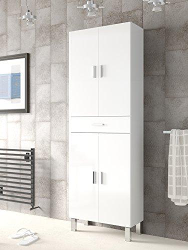 Meuble de salle de bains ou de toilette avec deux portes supérieure et inférieure séparées par un tiroir blanc brillant182x60x29cm