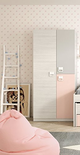 Armoire enfant 3 portes, bar intérieur et 3 étagères, chambre blanche, grise et rose pastel (mesure : 90cm de large x 200cm de haut x 52cm de profondeur)
