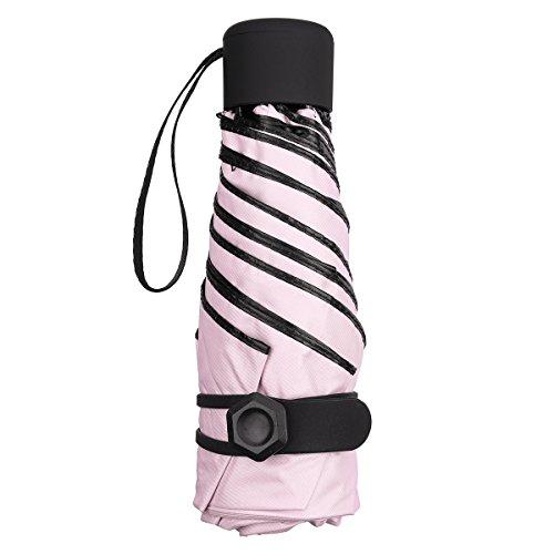 NASUM petit parapluie pliable Mini Sun Umbrella pour femme portable Longueur 17 Centimètres 6 nervures noir épais anti ultraviolet et tissu en caoutchouc pour les activités de plein air rose