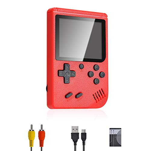 Lychee Mini Retro Console de jeu portable portable, 3 pouces écran LCD HD console de jeu portable avec 400 jeux classiques, enfants / adultes anniversaire (rouge)