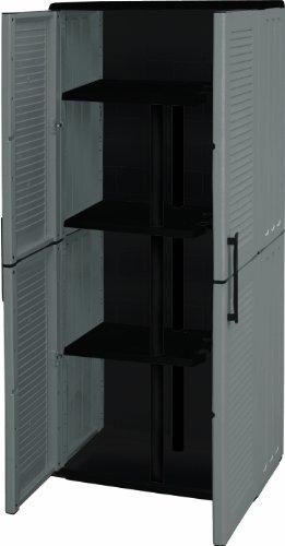Art Plast E71/PS Cabinet en plastique, avec portascope élevé, économique, couleur gris/noir