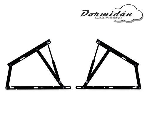 Dormidane - Pack 2 Système de levage avec amortisseurs, charnières + ressorts à gaz pour canapé pliant (1500 Newton)