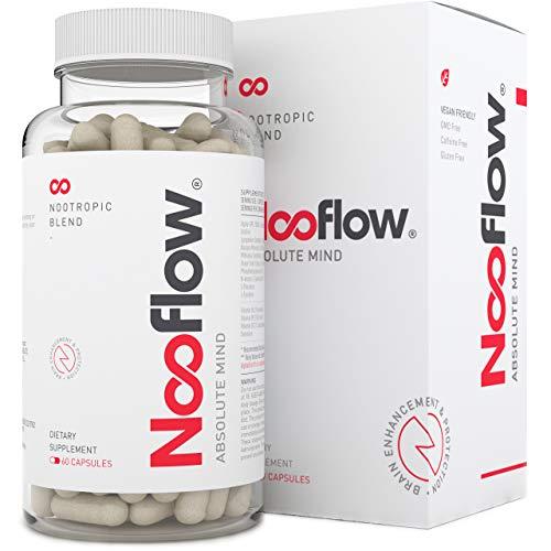 Nooflow Absolute Mind Premium Brain Vitamins | Pour la concentration, la mémoire, l'apprentissage, l'encouragement, l'énergie et la santé | Mélange Nootrope 100% naturel de vitamines et herbes | 60 capsules