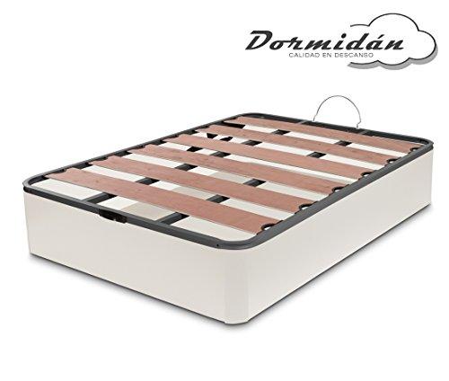 Dormidane - Canapé pliant, Coins ronds de grande capacité, Sommier à lattes avec lattes vaporisées et blocs de polyéthylène (150 x 190 cm, blanc)