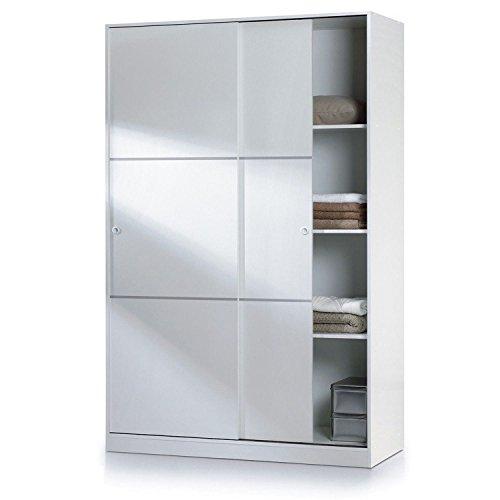 Habitdesign MAX020BO - Armoire à deux portes coulissantes, finition blanc brillant, Dimensions : 200 x 120 x 50cm