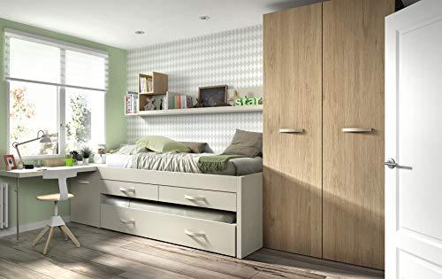 ambiato chambre d'enfant Vita 19 lits avec lit d'appoint et armoire Tablette murale Tablette étagère