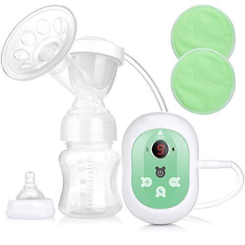 Lictin Electric Breast Pump - Pompe à sein à fonction massage, 2 modes et 9 niveaux d'affichage LED réglable avec 2 coussinets d'allaitement, super silencieux et certifié CE