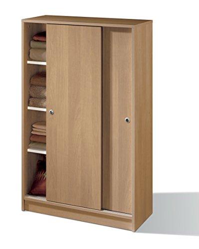 Armoire armoire auxiliaire Zapatero Multipurpose Oak 2 portes coulissantes, étagères réglables pour bureau, garde-manger, cuisine. 120cm Hauteur x 74cm Largeur x 33cm Profondeur