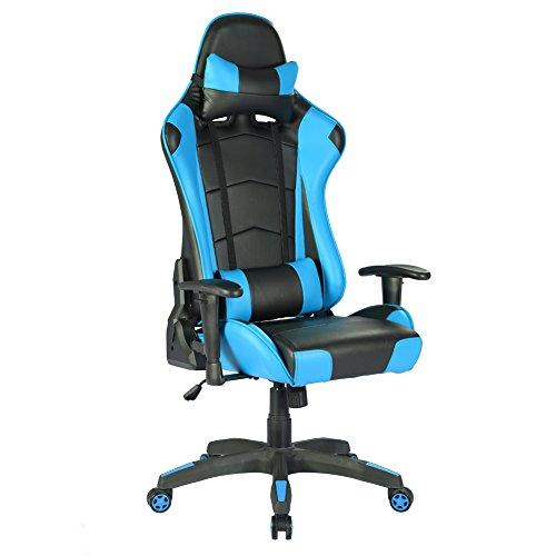 Chaise de course Gamer, chaise de jeu ergonomique IntimaTe WM Heart Ergonomic Gaming Chair, chaise avec appui-tête et coussin lombaire, cuir synthétique PU, pour PC Gamer Players (bleu)