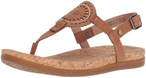 UGG Ayden II Sandales plates en amande, Sandales en cuir marron, Sandales pour femmes 40 marron