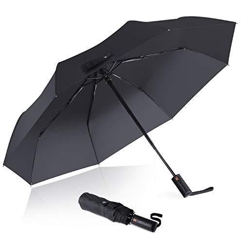KINGLEO parapluie automatique coupe-vent et stable, parapluie pliable peut plier 10000+ fois, parapluie de poche compact et Ligera,Paraguas automatique Viaje, automatique Viaje, noir WU01A