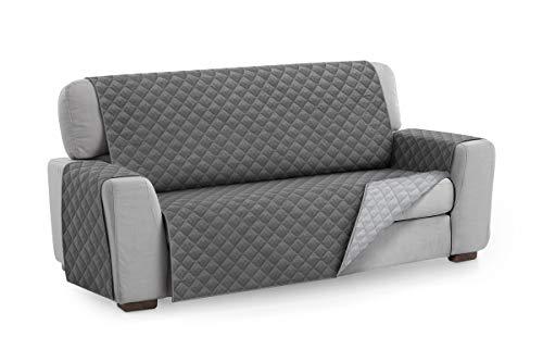 Textilhome - Housse de canapé Malu, 4 places, Protecteur de canapé rembourré réversible. Couleur Gris C/3