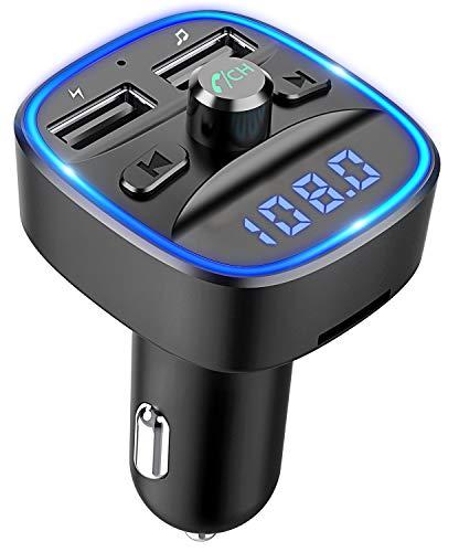 Cocoda FM Transmetteur FM Bluetooth, (Blue Ring Light) voiture mains libres, lecteur MP3 sans fil Adaptateur allume-cigarette Adaptateur récepteur avec double USB 5V/2.4A & 1A, cartes SD + support disque U