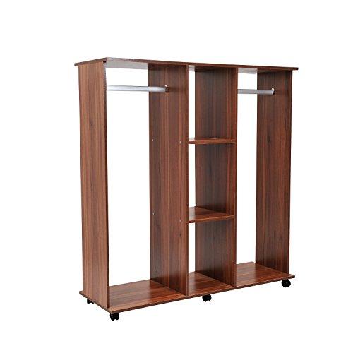 Armoire ouverte pour suspendre et ranger des vêtements à roulettes de type armoire - Bois - Couleur marron - 120x40x128 cm