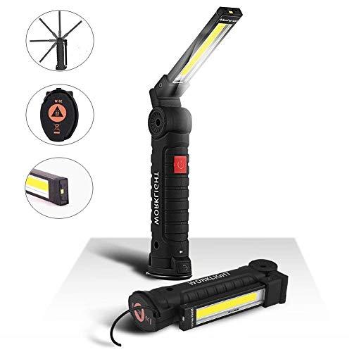 Lanterne de travail rechargeable 1800mAh, lampe d'inspection 5 modes 800 lumens, LED COB Lanterne portable avec base magnétique et crochet d'urgence, atelier, automobile (grand)