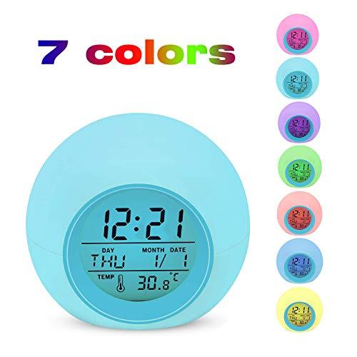 Réveil électronique numérique, Réveil Lypumso avec éclairage nocturne 7 couleurs, affichage LED avec heure, date, température, fonction Snooze (cadeau)
