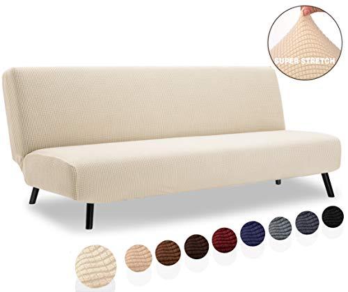 TIANSHU Housse élastique pour canapé-lit sans accoudoirs, tissu jacquard polyester et étuis extensibles Clic clac 3 Squares (Clic clac,Ivory)