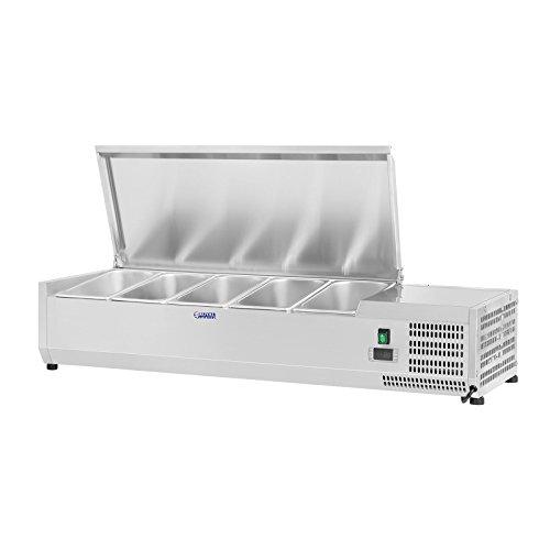 Royal Catering Vitrine réfrigérée RCKV-120/33-5S (120 x 33 cm, 35 L, pour 5 x GN 1/4, 2-10 °C, 110 W, R600a, Thermostat, Fonction décongélation, Couvercle en acier inoxydable)